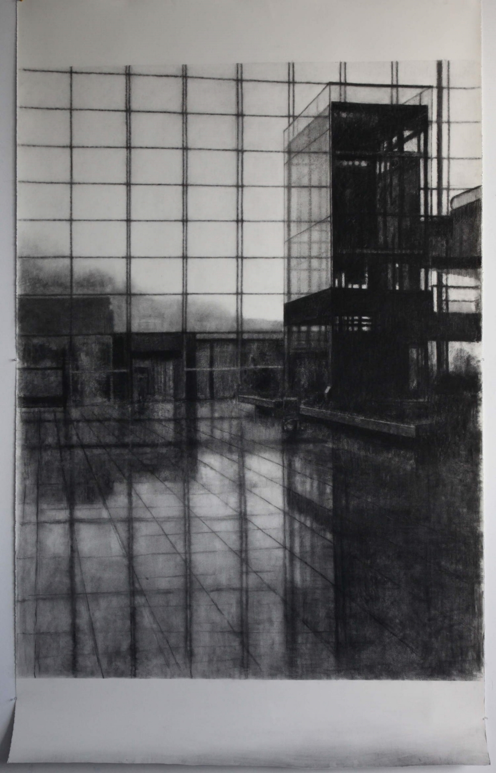 Drawing 316 (Chet Lap Kok), Charcoal on Fabriano paper, 240x140cm.