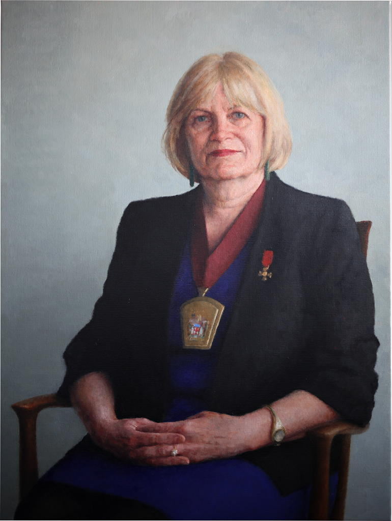 Dr Leona Wilson ONZM, 2011, Oil on linen, 900mm x 1200mm.