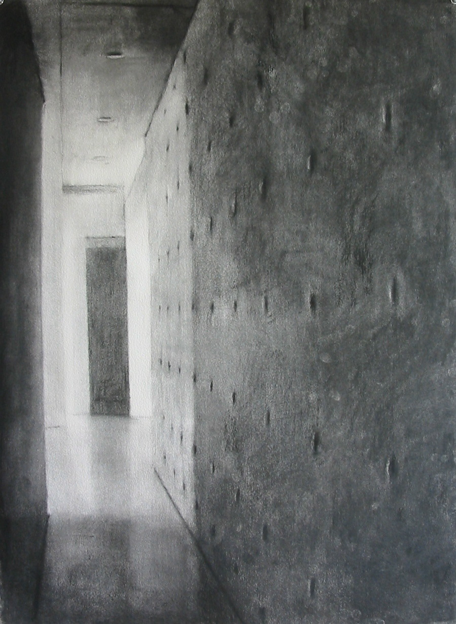 Drawing (Tadao Ando at Vitra 2), 2007, willow charcoal on paper, 58x75cm.