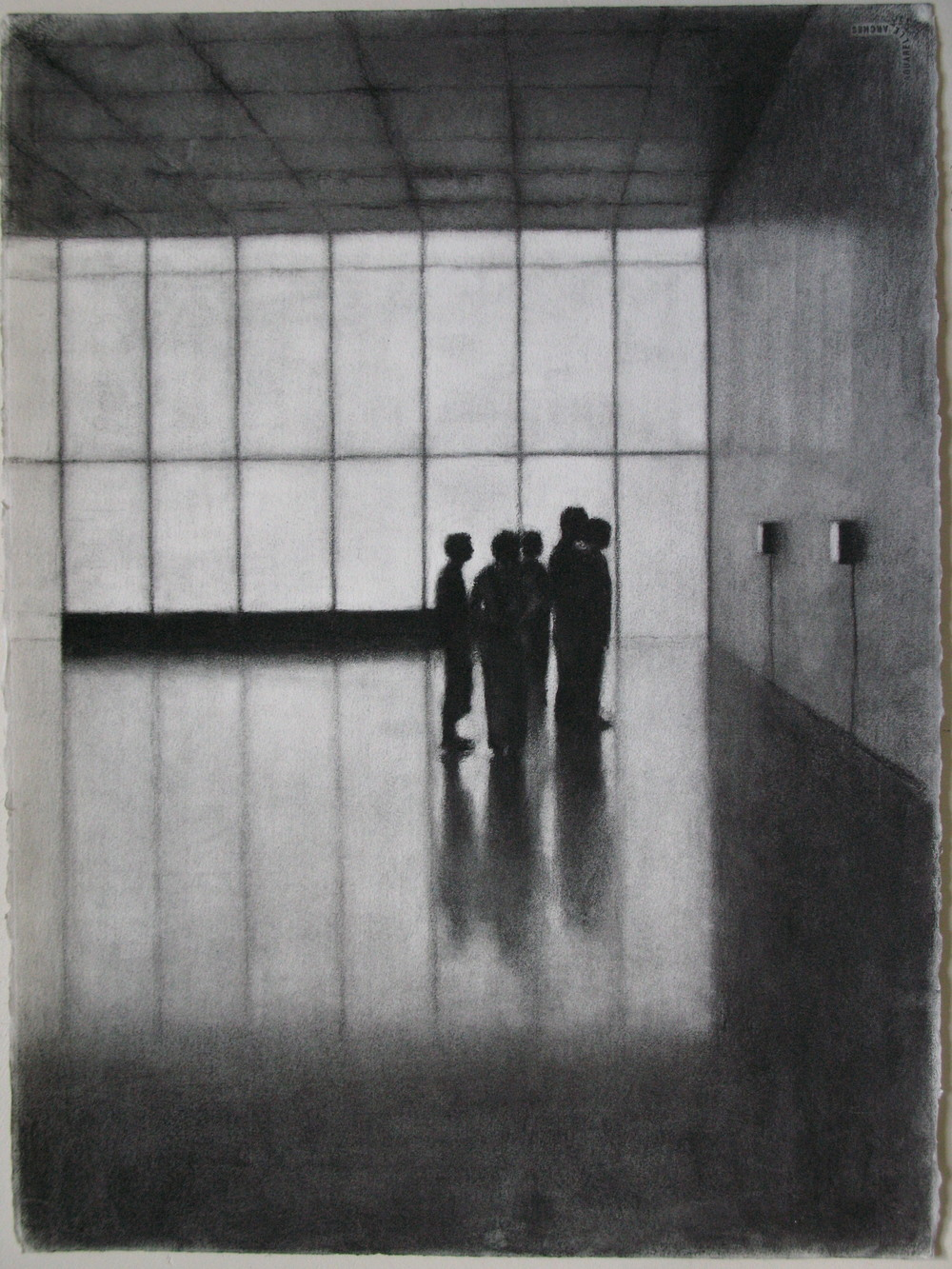 Kunsthaus Bregenz I, 2007, willow charcoal on paper, 56cm x 75cm.