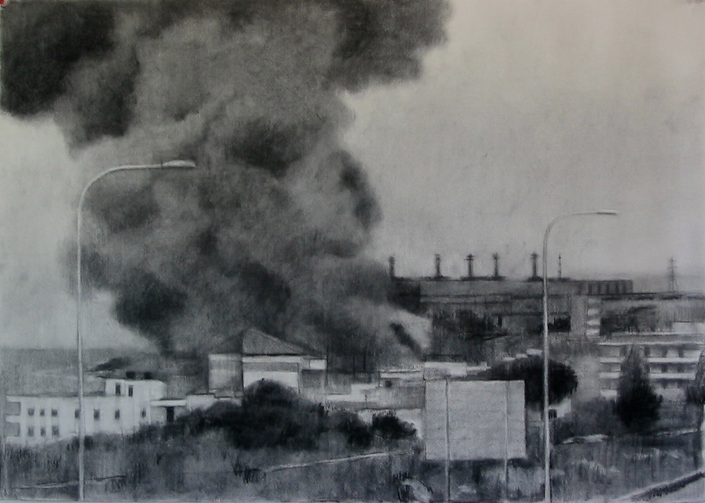 Beirut burning, 2007, charcoal on paper, 56x75cm