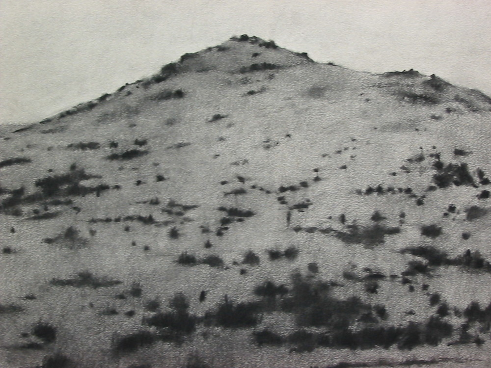 Lindis Pass, 2003, charcoal on paper, 56x75cm.