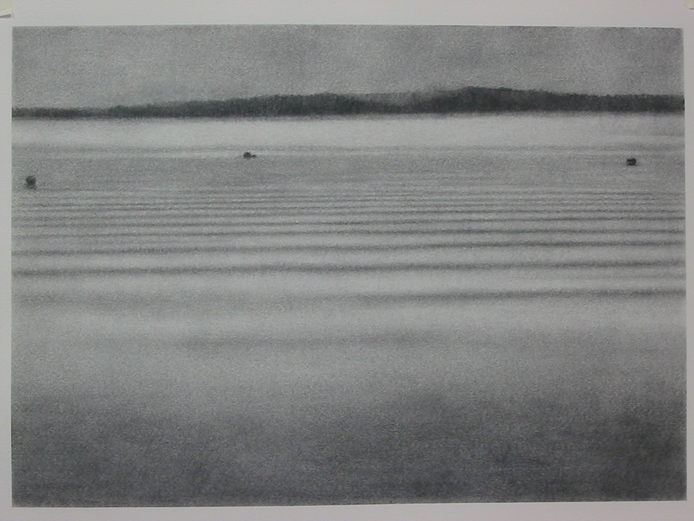 Lake Bracciano, 2003, charcoal on paper, 56x75cm