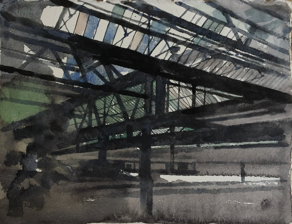 Waterloo station I (study), 2016, watercolour on 640gsm Arches, 38cm x 28cm