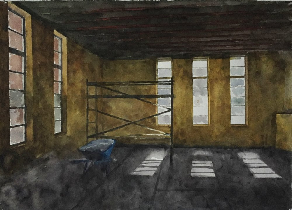Drill Hall II (study), 2016, water colour on 640gsm Arches, 1200mm x 750mm