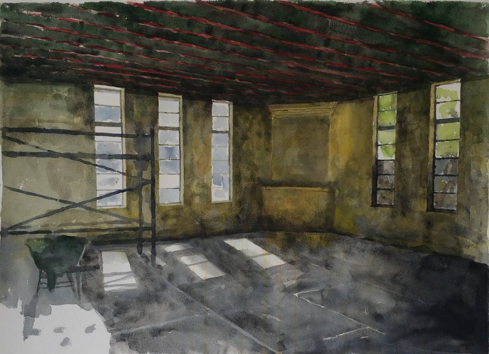 Drill Hall I (study), 2016, water colour on 640gsm Arches, 1200mm x 750mm