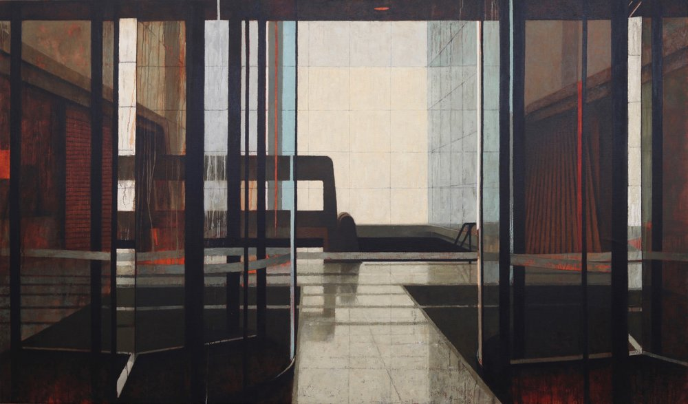 Interior 371 (Foyer II), Oil on linen, 2600mm x 1500mm, 2017