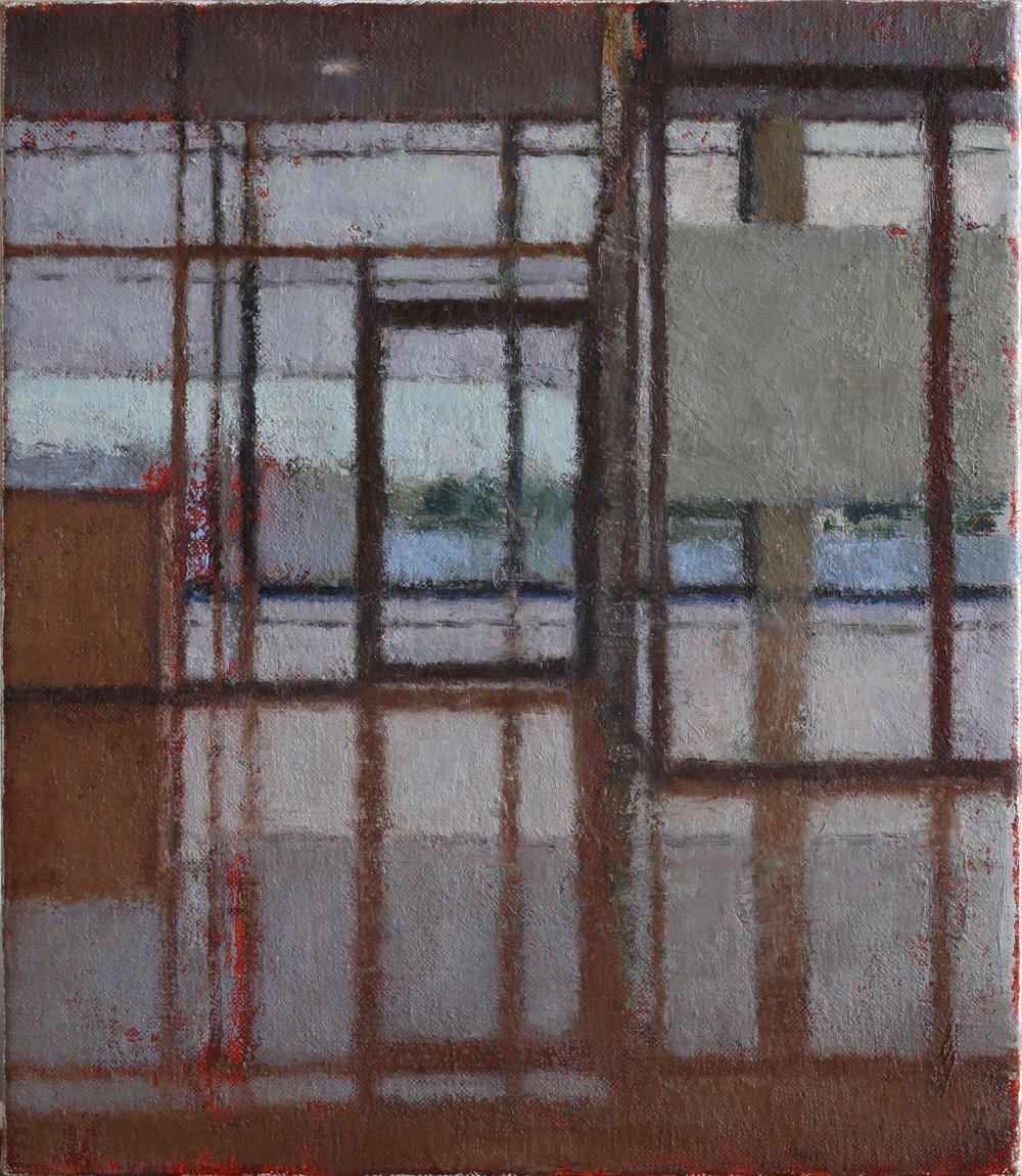 Interior 376 (Small Munich), Oil on linen, 310mm x 355mm, 2017