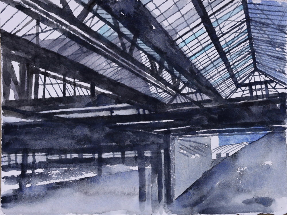 Waterloo station II (study), 2016, watercolour on 640gsm Arches, 38cm x 28cm