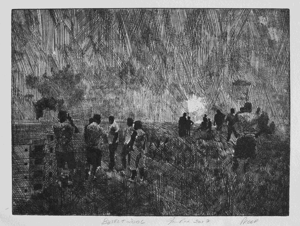 July War 2006 (Beirut, men on hill), 2007, hard ground copper etching on Hahnemuhle paper, 37cm x 42.5cm, edition of 10 (2017)