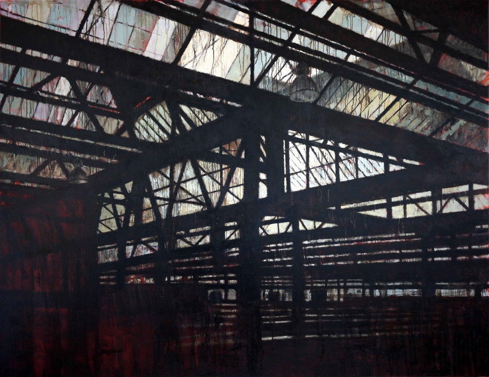 Interior 387 (Waterloo Station), 2018, oil on linen, 1521mm x 1976mm