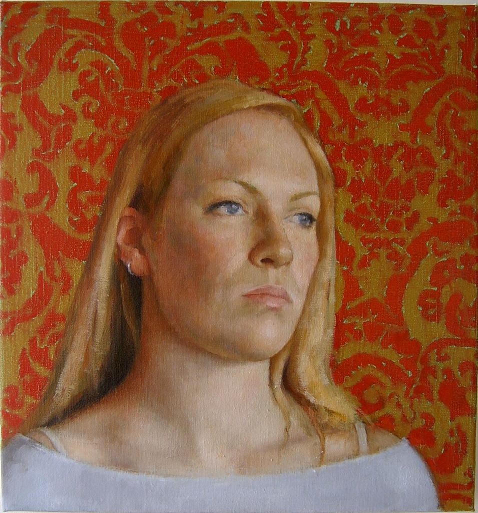 Clare (red&gold), 2005, oil on linen, 400x375mm