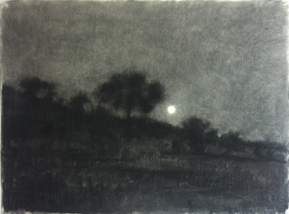 Monaro moonrise I, 2013, willow charcoal on Arches paper, 580x750mm
