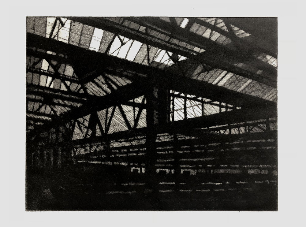 Waterloo Station, 2017,  Aquatint/Hard ground, Copper plate 192x252mm, 2018