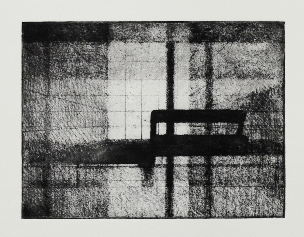 Interior (Foyer II), Soft ground etching, 195x146mm, 2017