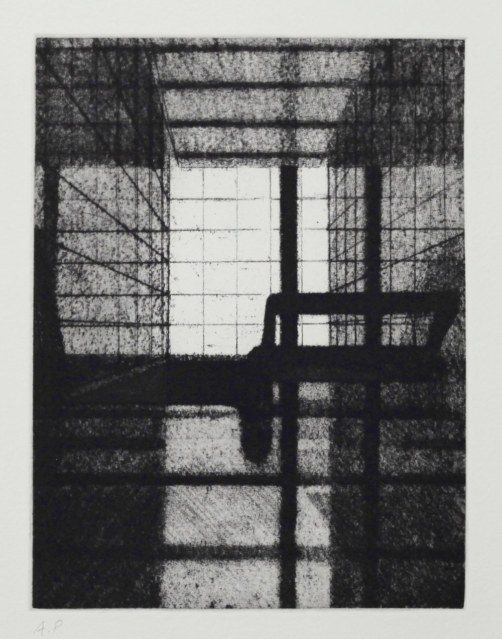 Interior (Foyer I), Soft ground etching, Zinc plate 195x146mm, 2017