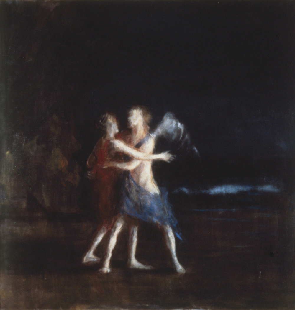 Jacob and the Angel I, 1986, oil on canvas, 900m x 900mm