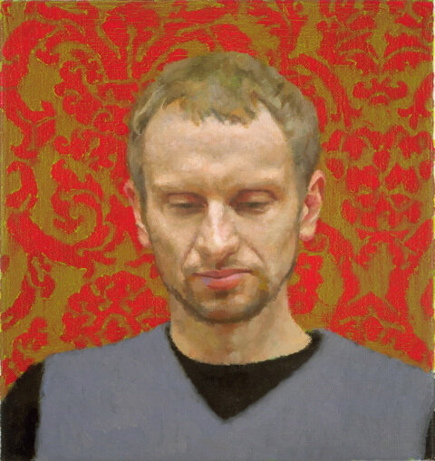 Martin (red&gold), 2005, oil on linen, 400x375mm
