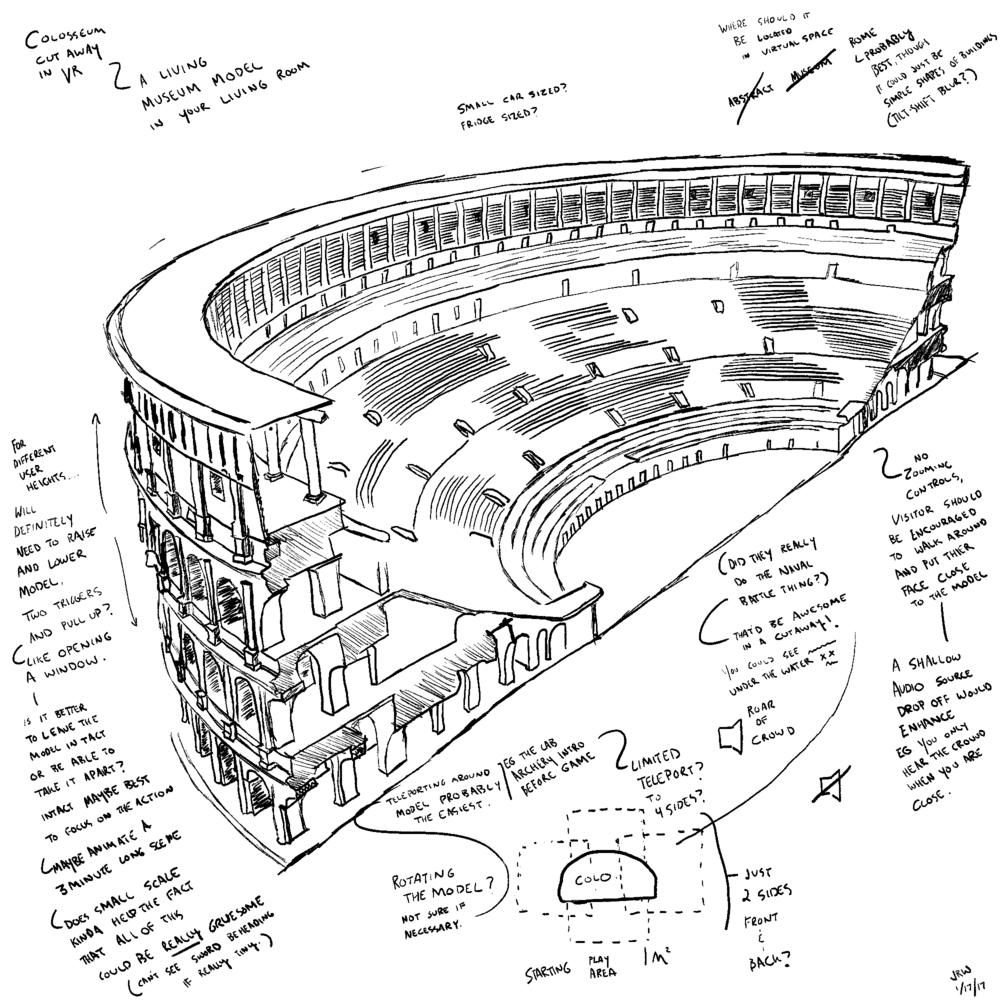 Rome Reborn Design Concept Colosseum Vr Cutaway