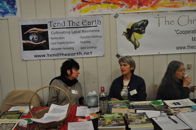 """Pictured here from L to R: Marianna Burrett (Tend The Earth), Meg Koeppen ( Desert Bounty ) and Trudy Williams ( The Chrysalis Institute ) at """"Ever Better Community""""."""