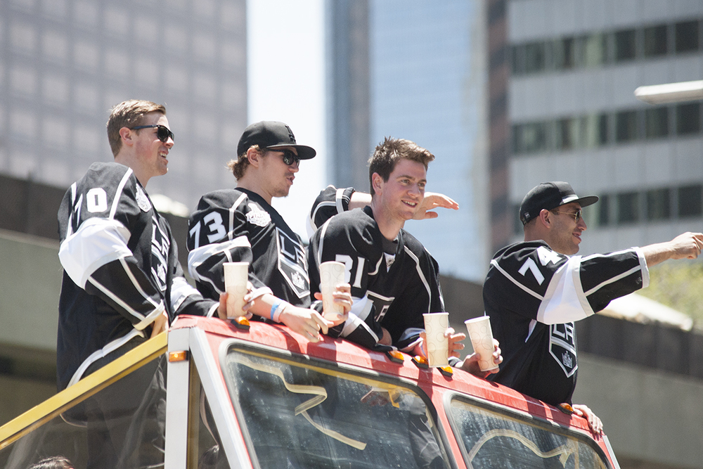 from left, Tanner Pearson, Tyler Tiffoli, Martin Jones, and Dwight King