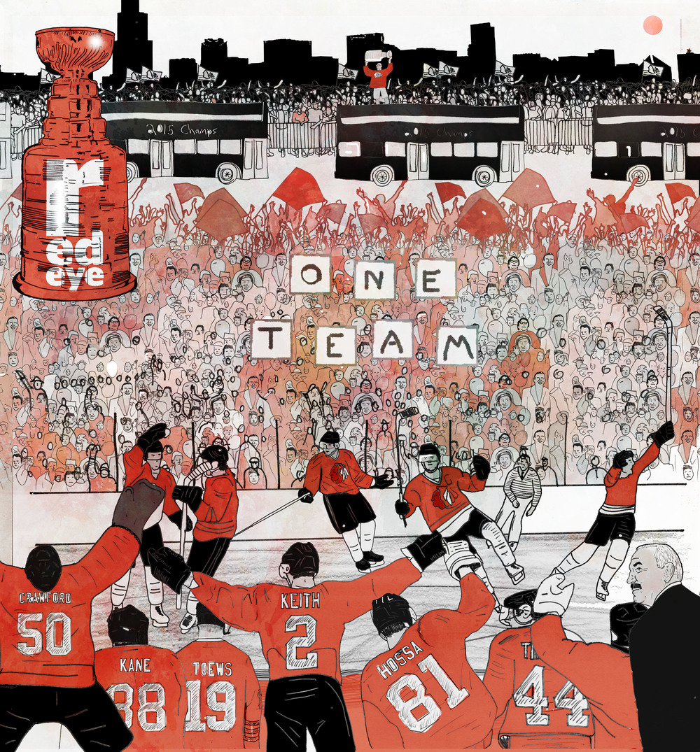 What an amazing week to live in Chicago and work for a newspaper. Earlier in the week I covered the Stanley cup finals and yesterday I illustrated  a commemorative cover to go with an issue looking back at the hawk's incredible season.