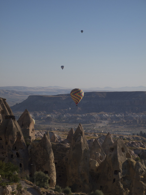 Air balloons over ancient sites of Capadocia, Turkey.