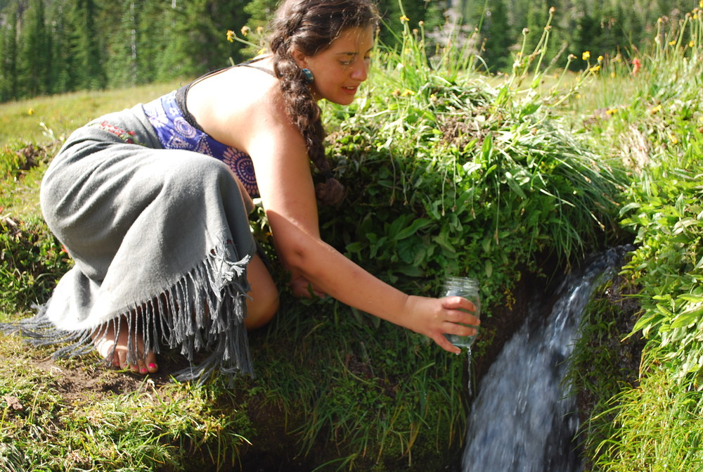 Collecting waters from a sacred spring during a flower essence workshop at Sister Meadows, Mt. Shasta.