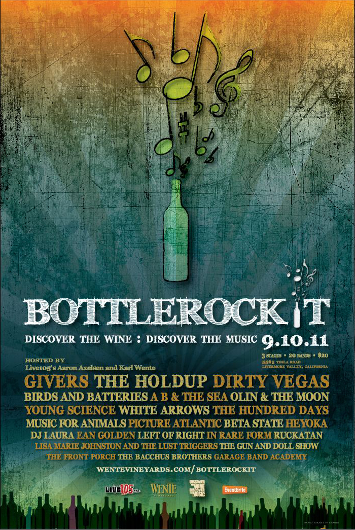 On September 10th we are playing the first Annual Bottlerockit Festival, hosted by Live 105 @ Wente Vineyards in Livermore. There are tons of other local bands playing too, and it's shaping up to be a killer time. I'm very curious to see how it goes, too. This will also be the last little gig on our small stretch of time out on the road before summer ends. Couldn't think of a better way to end it! We play at 3pm at the indoor Homegrown stage, so be sure to come check out our set. See you there!