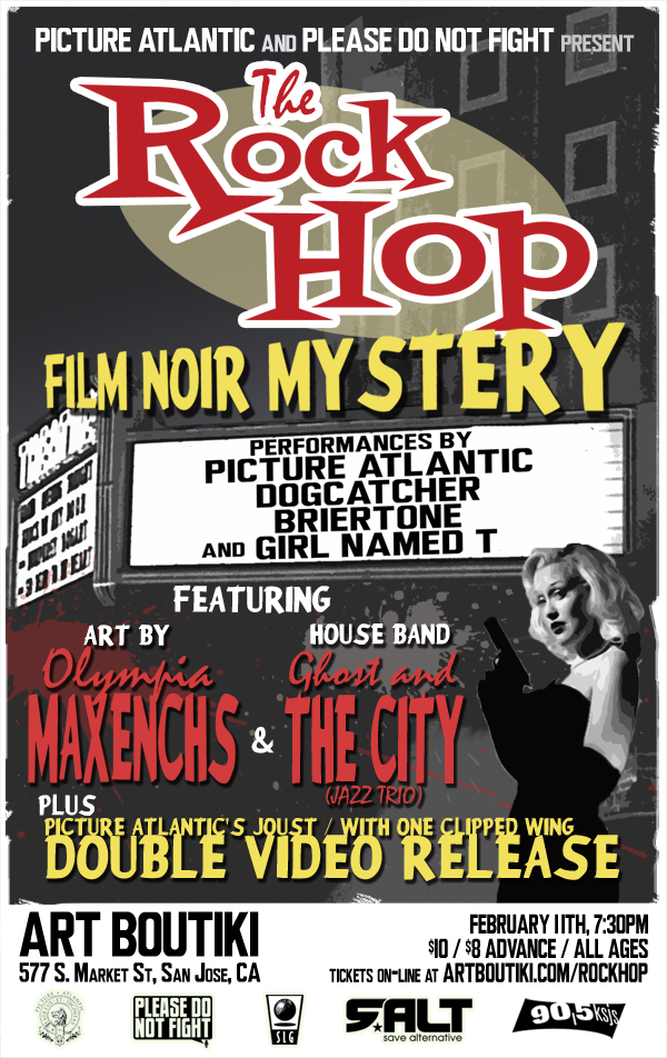 Our music video gets publicly premiered Feb. 11th at The Rock Hop w/ Dogcatcher, Briertone, Girl Named T, and Ghost & The City (house band). Don't miss it. $8 Presale tickets if you want them. E-mail pictureatlantic@gmail.com and we will deliver.