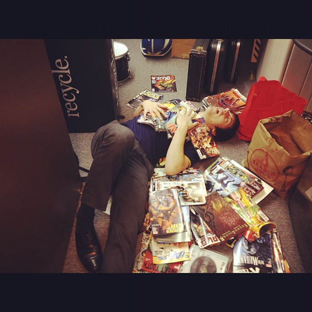 Nik is dying in the abyss of comic books at the studio (Taken with  instagram )