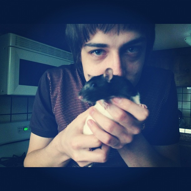 Nik plotting with one of his rats (Taken with instagram)