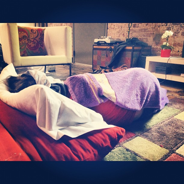 "The infamous Nik ""Fart-tunek"" being an innovator, using a towel as a blanket…  (Taken with  instagram )"