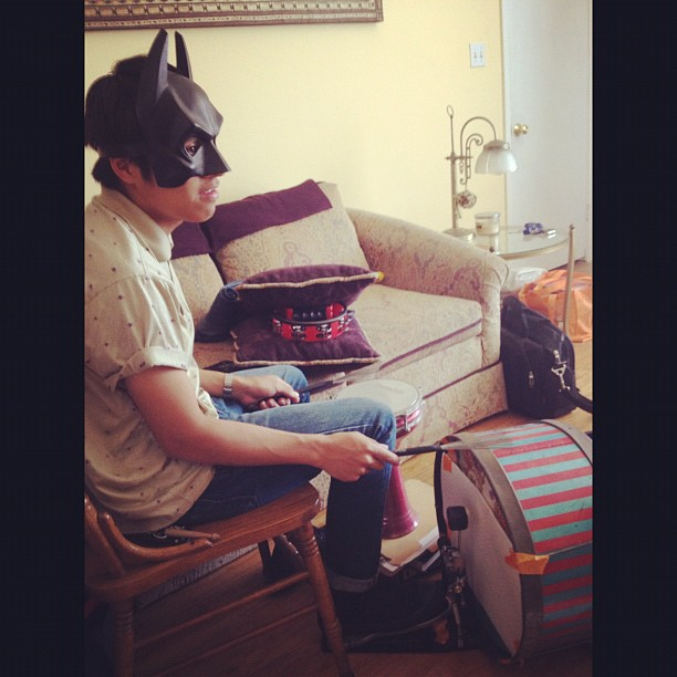 Bringing the inner essence of Batman at acoustic practice today (Taken with  Instagram )