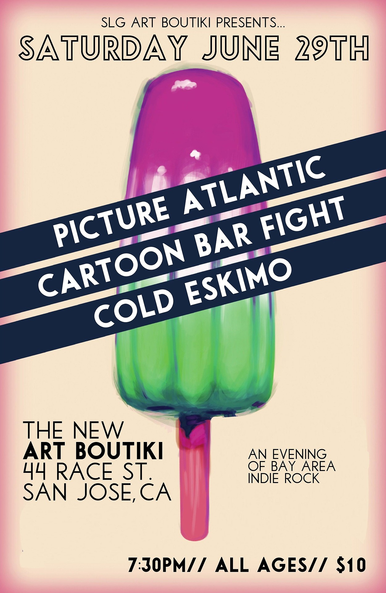 cartoonbarfight: This month, our favorite San Jose venue reopens! Happy to say we'll be playing their first show at the new location, alongside Picture Atlantic and Cold Eskimo!