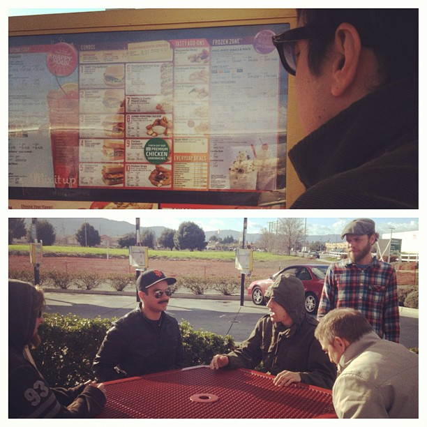 Trying to keep warm, eating at sonics, first pit stop before playing at Fresno tonight