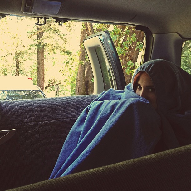 Ryan's girlfriend protecting our van from goblins in her wizards robe while we shoot some scenes for our music video!