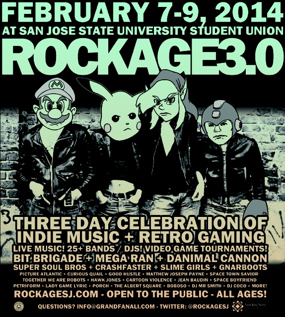 We're so stoked to be a part of Rockage 3.0 next year in our very own San Jose. We'll be playing a set featuring some new songs from the upcoming album as well as hosting a gaming module of some sort.  Some of the ideas so far: Rig our tour van up with Mario Kart 64 and let people play while BG drives it around SJ and I throw bananas out of the window Have BG play FFVII on a projector while Aaron Hellam and I criticize his every move, in the vein of RiffTrax Recreate every PA song, live, using Mario Paint If you're into gaming and have any ideas, let us know. We're honestly considering anything at this point! -RB
