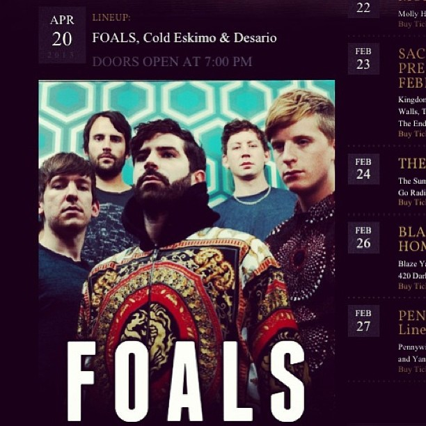 Our main pals & pallette in Cold Eskimo are going to be opening for Foals this April! Awesome! Congrats to them! Definitely check out Cold Eskimos music if you haven't already. coldeskimo-music: Really excited we get play a show with @foalsfoalsfoals ! #foals #coldeskimo