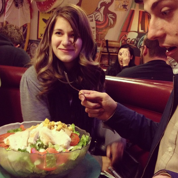 theradiotransmissions :     @brittanypetty Nik eating his side salad… Also the girl in the background obviously wants her picture taken