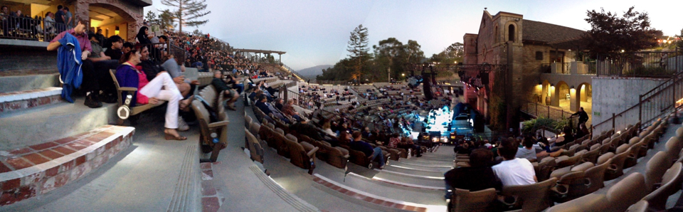 Well here is our official Monday blog post!   As some of you know, we got a chance last night to open for Styx at the Mountain Winery in Saratoga. The easiest and best way to explain the night, is that it was really one giant blessing. We're a small indie band, and to get the chance to open for a larger act, and play a beautiful and amazing venue is an honor.    The show was, in a lot of ways, a really cool internal experience for myself. The night made me think a lot about bands, and people who choose to make music their career. Styx was the perfect example of a band who has been doing it for a long time, and staying good at what they do. They may not be the most relevant band right now, and they may not be pumping out new, hot music, but what really blew me away was the fact that they have kept all these fans since the late 70's! And on top of that, they were hands down, flawless during their live set.   Success is measured so differently in this age. Thanks to DIY ethics, and the internet, you can be successful just by getting lots of hits on Youtube videos. Some people are even able to tour the world without the help of management or a label, because they handle all aspects of their music themselves. Seeing yet again, just another facet of success last night, really made me appreciate the fans, and the experiences that Picture Atlantic has. We may not be rocking small ampitheaters every night, but we have been incredibly lucky to play some great shows, connect with people through our music, and make a heap of friends in the process. Thank you everyone. You bless us more than you know.   -Nik    Thank you to Joe Paulsen for the panorama shot!