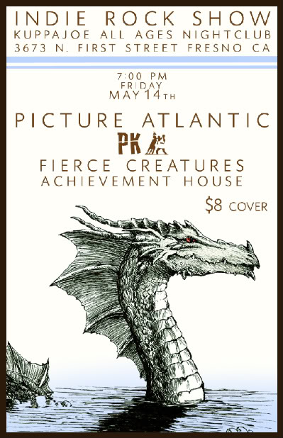 "We in Picture Atlantic can't tell you how excited we are for this show! Fresno has claimed a place in our hearts, and every show in Fresno has been a night to remember. It would be safe to say that for us as a band, its a second hometown. Along with that, we also get to share the stage with the amazing PK. Buddy bands, as a rule of thumb, hype each other up online. There is never a rule of thumb for us. Every time we have shared the stage with PK, it has been an immense honor, and we truly respect and love their music (and them, since they charming lads, one and all). With this show, we thought the philosophy ""two is better than one"" made a good deal of sense for this show. The day after, May 15th, we will be playing a free, secret show in Down Town Fresno, for everyone to hear music, drink coffee (a hint?) and hang out with us. We'll be posting this info much closer to the date of the show. We hope you can make it out."