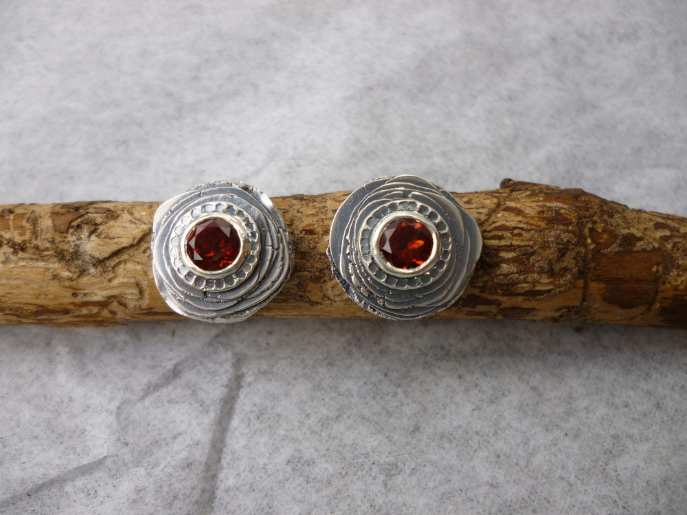 layered disc earrings with fire citrine.JPG