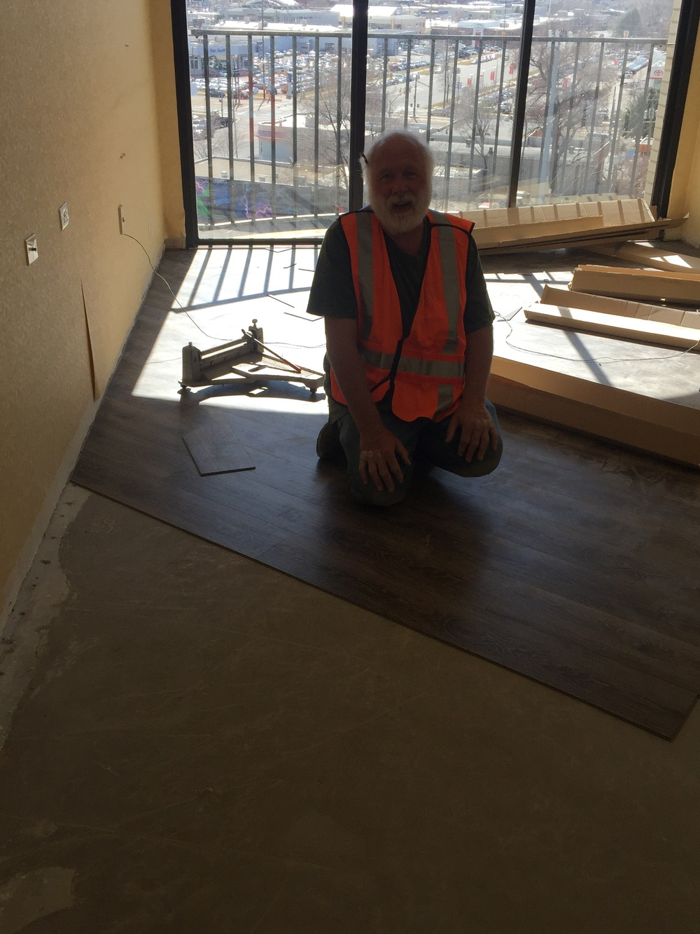 Don installing the first of many rooms @ Red Lion Salt Lake! (Shaw Quiet Cover)