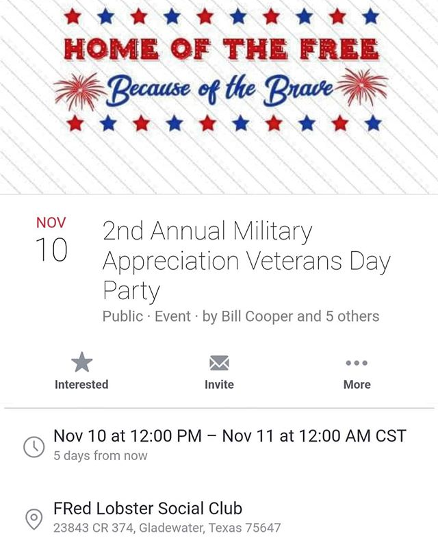 This Saturday... Facebook event link is in the profile. #fredlobster #yinyout #militaryappreciationcelebration #MilitaryCelebration2018