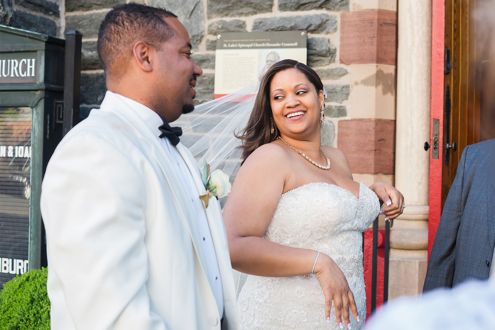 Wedding with red doors at st luke's episcopal church washington dc