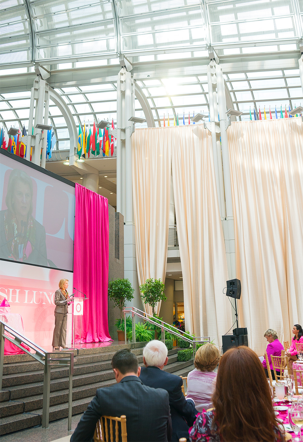 Senator Capito speaking at DC Blush Lunch at Ronald Reagan wedding photogrpher jessica nazarova