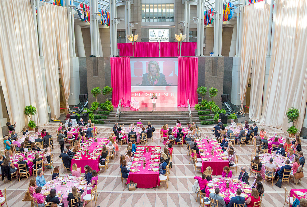 Senator Capito speaking on her experience with breast cancer. Reagan Center, Washington DC