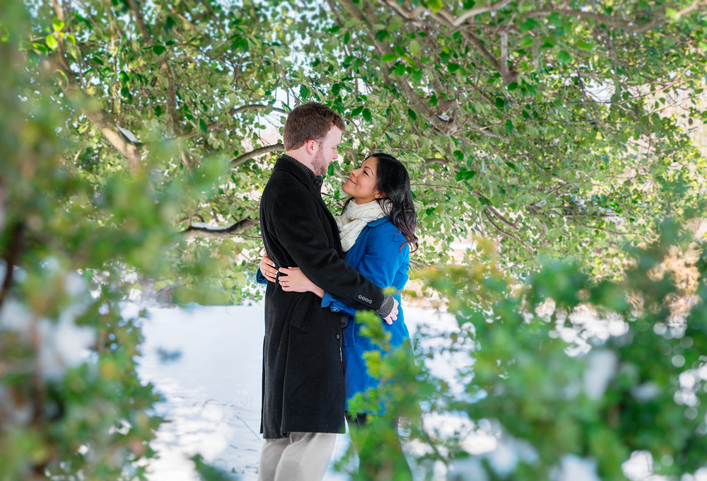 Woodlawn Manor engagement session snow photos