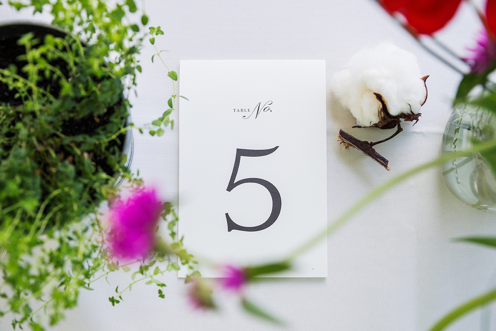 DIY table numbers and cotton flowers and decor